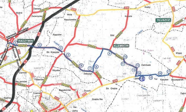 Schemat linii autobusowej Radzymin - Klembów - Karolew