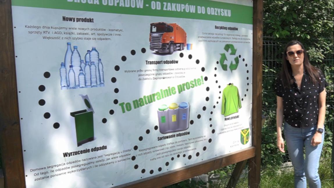 Ania Michalik opowiada o zasadach segregacji odpadów przy tablicy informacyjnej na PSZOK