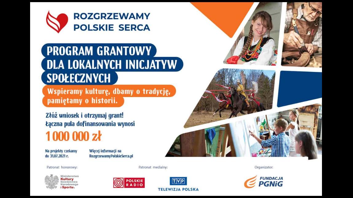 Grafika przedstawiająca program Rozgrzewamy Polskie Serca. Program grantowy dla lokalnych inicjatyw społecznych.