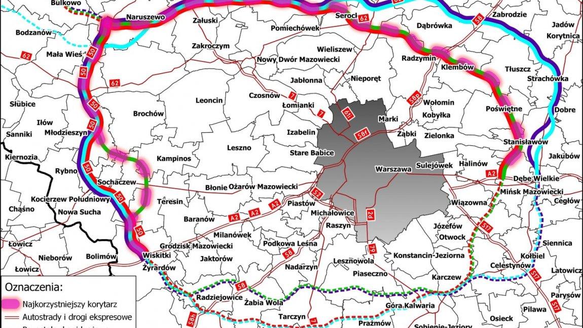 Mapa Obwodnicy Aglomeracji Warszawskiej